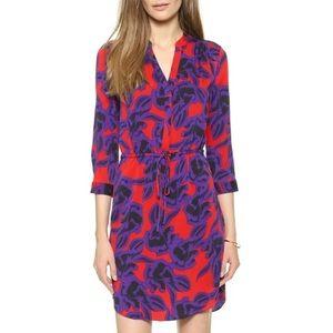NWT Dvf red purple print 3/4 sleeve silk dress, 0